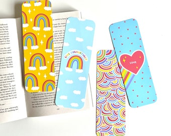 Rainbow Bookmarks 4 Pack, Colourful Bookmarks, Paper Bookmarks, Live Colourfully, Cute Bookmarks, Rainbow Gifts, Colourful Gifts, Book Gifts