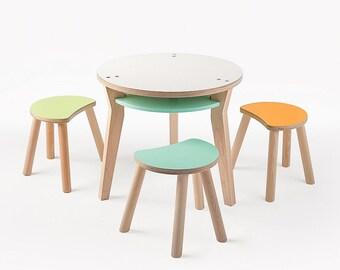 The Bobbin Kid's Table and 3 Cricket Stools