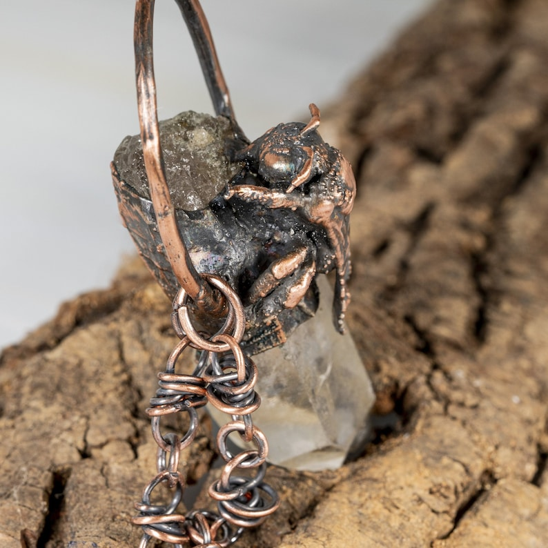 Chunky Quartz Raw Point Crystal with Real Bee Pendant