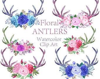 Watercolor antlers clipart Floral clipart Watercolor flowers clipart Bouquets clipart Wedding clipart Invitation clipart Floral Antlers