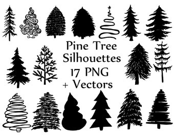 Christmas Tree Silhouette Clipart PINE TREES CLIPART Doodle Trees Vector Xmas Hollyday Scrapbooking