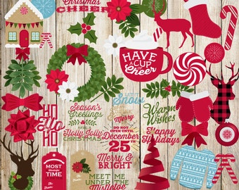 Christmas Clipart Images.Christmas Clipart Christmas Clip Art Collection Holiday Etsy