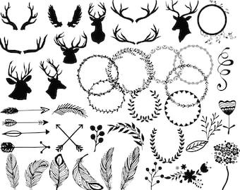 Wedding ClipartWEDDING CLIP ART Clip Art Antlers Clipart Deer Arrows Christmas Frames Diy Invite