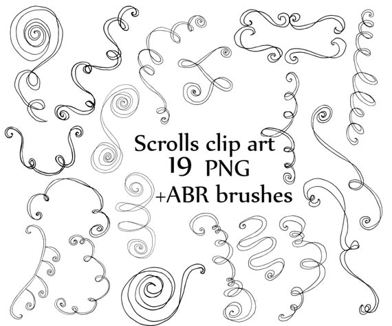 Doodle Scrolls Clipart Swiril Clipart Ps Brush Abr Curly Doodle Flourish Doodle Clip Art Decorative Scrolls Digital Stamp Hand Drawn