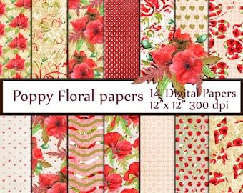 "Poppies Floral Digital Paper Pack: ""RED FLORAL PAPERS"" vintage floral paper decoupage papers floral background Floral Digital  greeting card"