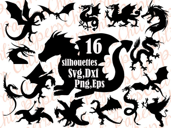 Dragon Silhouette Svg Dragon Clipart Dragon Etsy