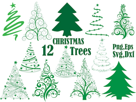 Christmas Trees Silhouette.Christmas Tree Svg Silhouette Clipart Pine Trees Clipart Christmas Svg Vector Clipart Xmas Tree Hollyday Clipart Tree Scrapbooking Dxf