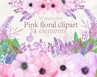 Floral clipart Watercolor flowers clipart Pink floral clipart Wedding invitation Anemona flowers Weding Clip Art Hand Painted flowers