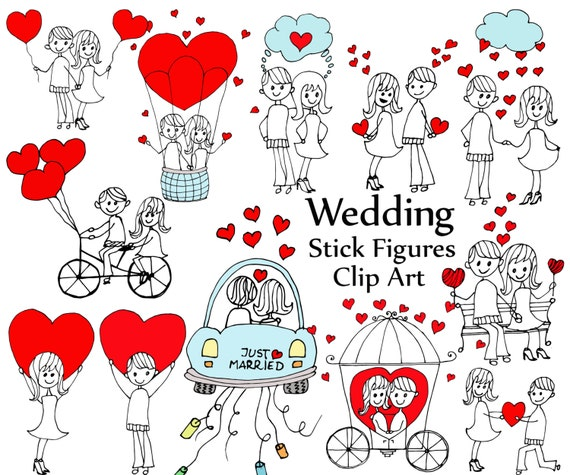 wedding stick figure clipart stick figures bride etsy