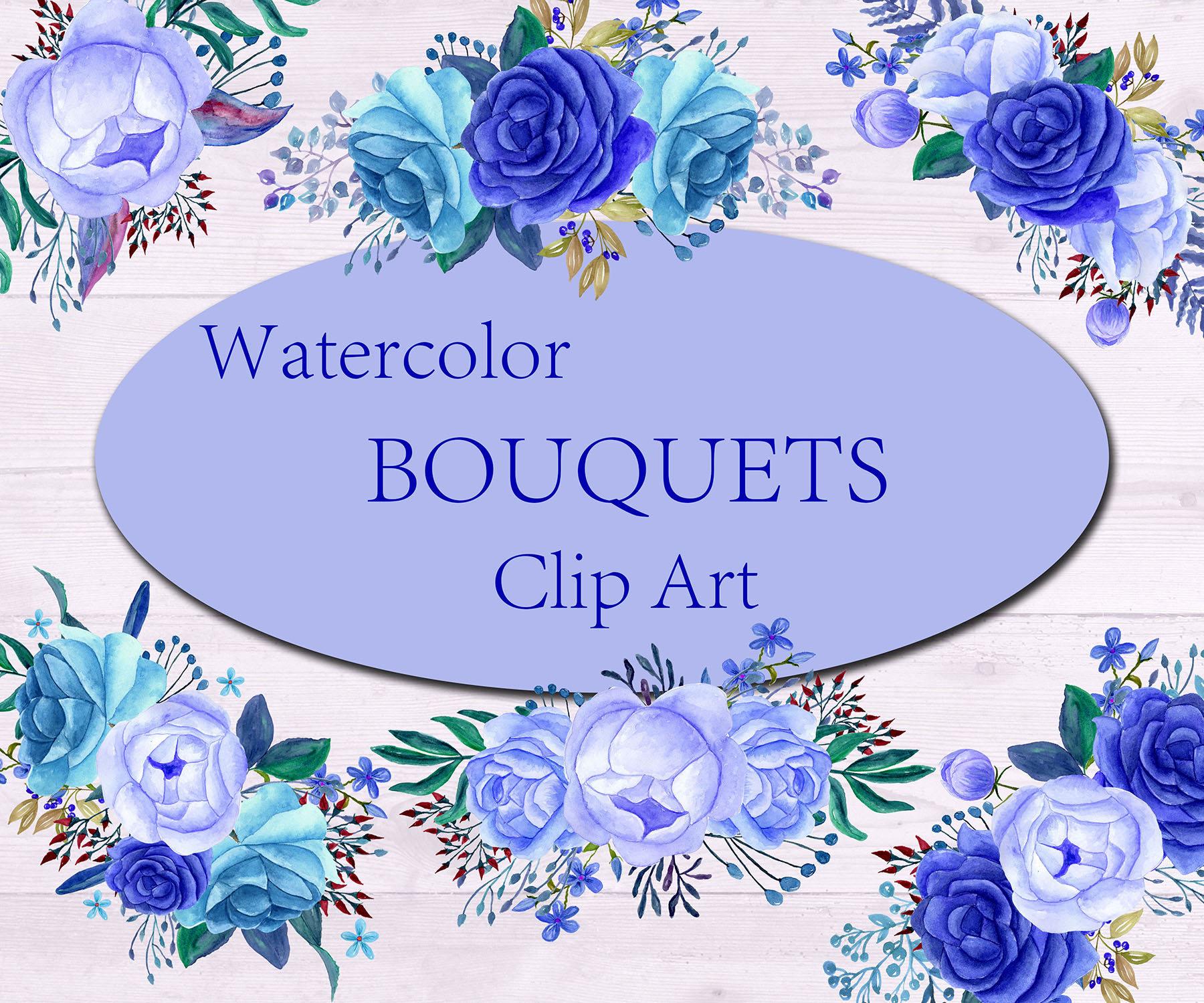 Blue watercolor bouquets clip artfloral bouquetsblue etsy blue watercolor bouquets clip artfloral bouquetsblue flowers bouquet flowers wedding invitationdiy invitesblue floral blue bouquets izmirmasajfo