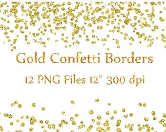 "Gold Confetti Borders clipart: ""GLITTER CONFETTI CLIPART"" Glitter Confetti Clip art Glitter Borders Overlays High Res Instant Download"