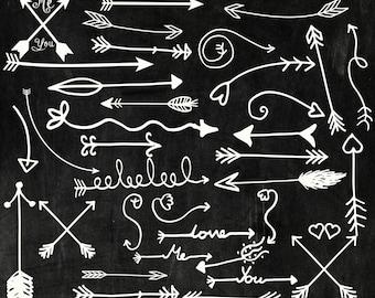 """Chalk tribal arrows clip art: """"CHALKBOARD ARROWS"""" hand drawn arrows chalkboard arrow clipart Chalk Arrows Digital chalk arrows clip art"""