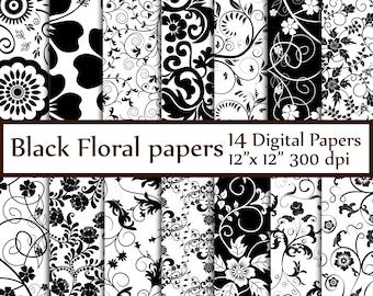"""Black Floral Digital Paper: """"FLORAL PAPERS"""" Black and White Digital Paper Bridal paper wedding background Floral backgrounds black scrapbook"""
