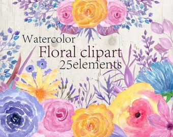 Watercolor Floral clipart Watercolor flowers clipart Pink floral clipart Wedding invitation Yellow flowers Wedding Clip Art Handpainted