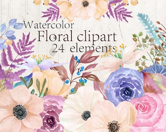 Watercolor flowers clipart Watercolor Floral clipart Pink floral clipart Wedding invitation Anemona flowers Weding Clip Art Hand Painted art