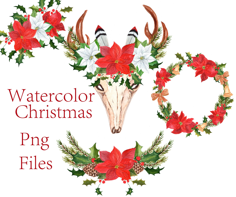 Weihnachten Kränze Cliparts: ClipArt Aquarell | Etsy