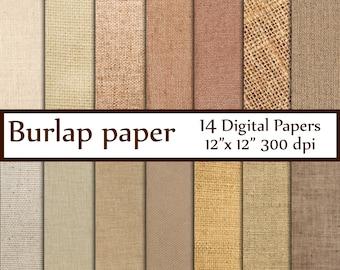 "Burlap digital paper: ""BURLAP PAPER"" Craft paper Linen texture paper Fabric Digital Paper Natural Burlap Jute texture rustic scrapbooking"