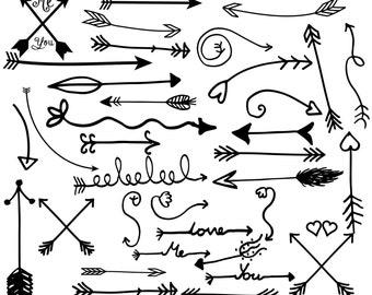 "Tribal Arrow Clipart: ""ARROW CLIP ART""  Hand Drawn Arrows Clip Art Whimsical Arrow Doodle Clipart Instant Download"