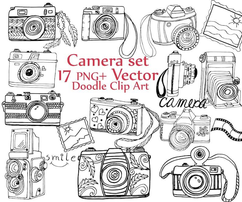 Doodle Camera Clipart Camera Clip Art Camera Etsy