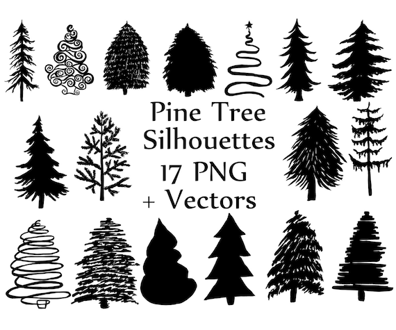 Christmas Trees Silhouette.Christmas Tree Silhouette Clipart Pine Trees Clipart Doodle Trees Clipart Vector Clipart Xmas Tree Hollyday Clipart Tree Scrapbooking