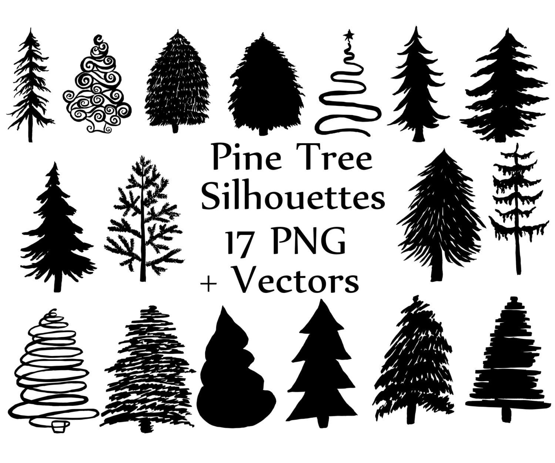 Weihnachtsbaum-Silhouette Clipart: Kiefer Bäume | Etsy