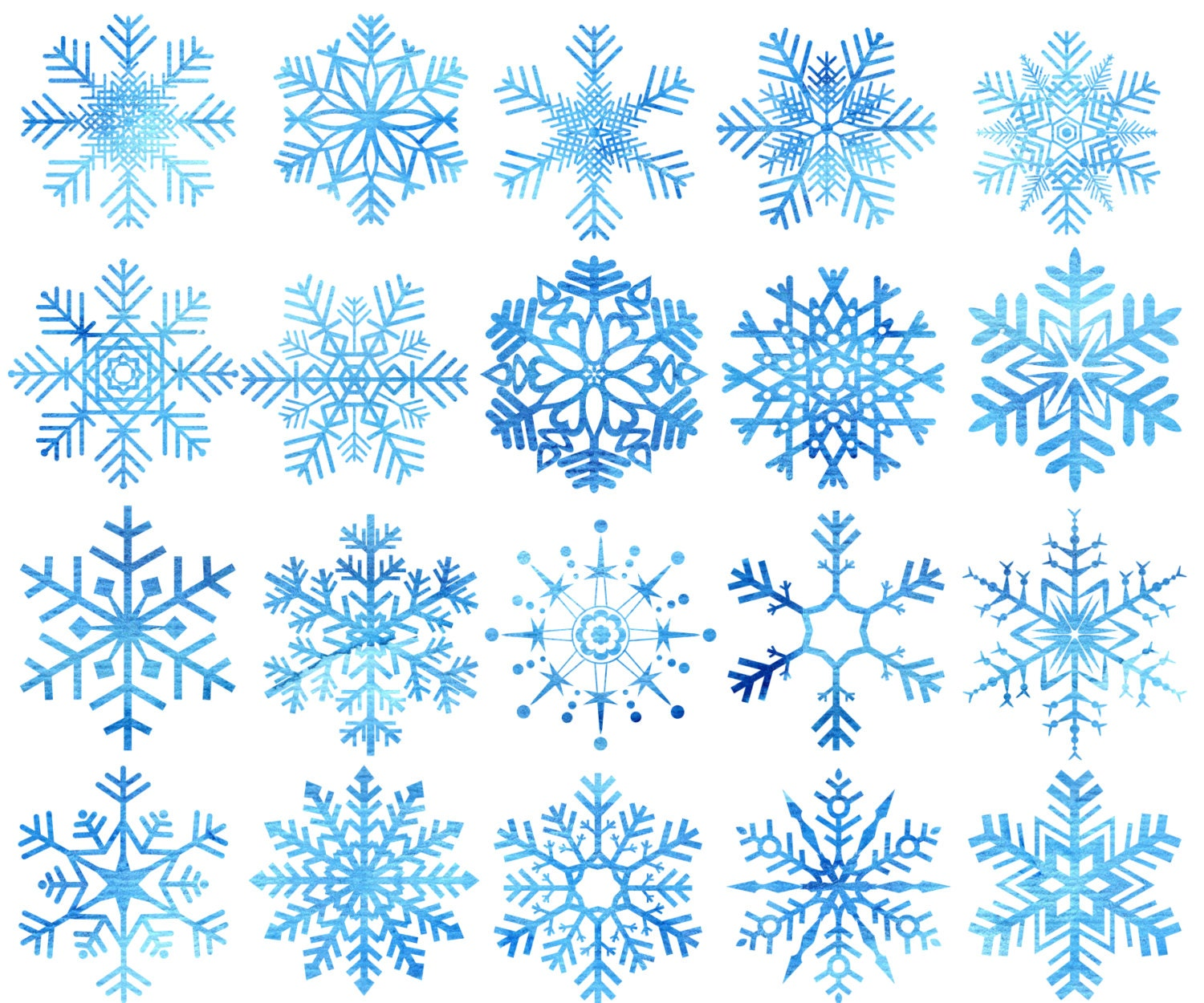 Watercolor Snowflakes Clipart: CHRISTMAS CLIP ART | Etsy