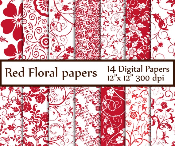 Red Floral Digital Paper Floral Papers Floral Etsy