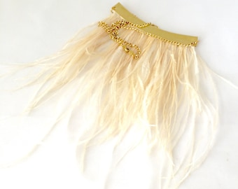 Anarkali Ostrich Feather Necklace in Ivory