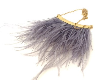 Anarkali Ostrich feather statement necklace in gray