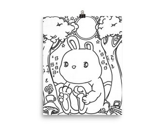 Bunny in the Sleepy Forest - Poster