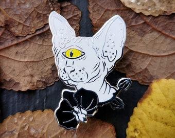 Space Sphynx (white variant) - hard enamel alien cyclops kitten pin