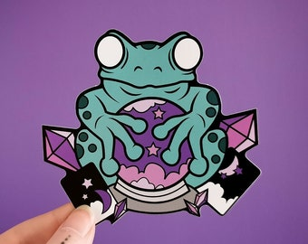 Froggy Fortune Sticker - witchy tarot psychic frog