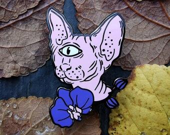 Space Sphynx (pink variant) - hard enamel alien cyclops kitten pin