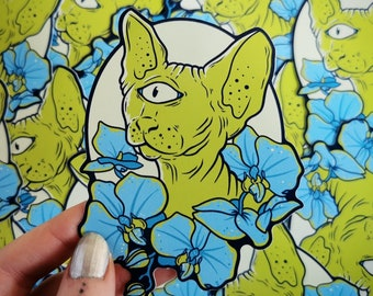 Space Spynx Blue and Green Sticker - scifi cyclops kitten