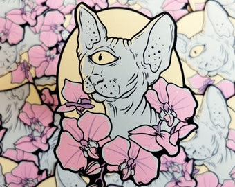 Space Spynx Pastel Sticker - scifi cyclops kitten