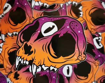 Occult Decay Sunset Variant - Witchy third eye skull sticker