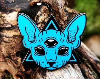 Cosmic Familiar (black&blue) - hard enamel pin - Sphynx - Witchy - Third Eye - Occult