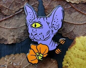 Space Sphynx (Purple variant) - hard enamel alien cyclops kitten pin
