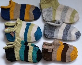 8e633d36988e29 Striped wool knit slipper socks Man s women s short knit socks Unisex wool  socks