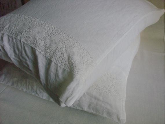 Lace trimmed linen pillowcase