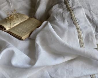 Luxury White soft linen flat sheet eco friendly french  linen flat sheet queen linen sheets king linen sheets by LUXOTEKS