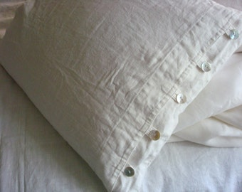 Linen duvet cover set of duvet cover and pillowcase with natural pearl buttons linen bedding set by Luxoteks