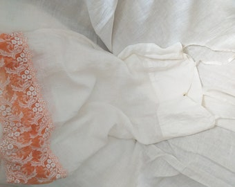 White linen nightgown lingerie with burnt orange wide lace night gown Spaghetti straps by Luxoteks