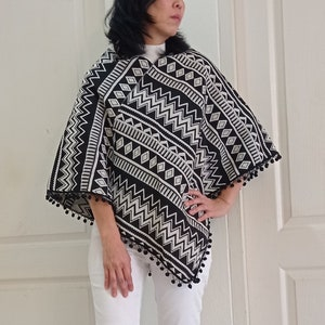 Outerwear Hmong Hand Woven Cotton Poncho Hill Tribe Cotton Shoulder Wrap,Colorful Clothing,Hippie,Boho Clothes Hilltribe Handmade,Bohemian