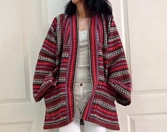 Big Size Unisex Vintage Tribal Hmong Hand Woven Cotton Jackets,Kimono,Yukata,Cardigan,Hill Tribe Woven clothing,Boho Handmade Cloth,Bohemian