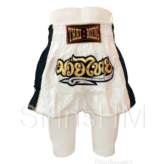 """MUAYTHAI SHORTS WITH TRIBAL AND /""""มวยไทย/"""" BLACK-SILVER-GOLD SIZE L 30/""""-34/"""""""