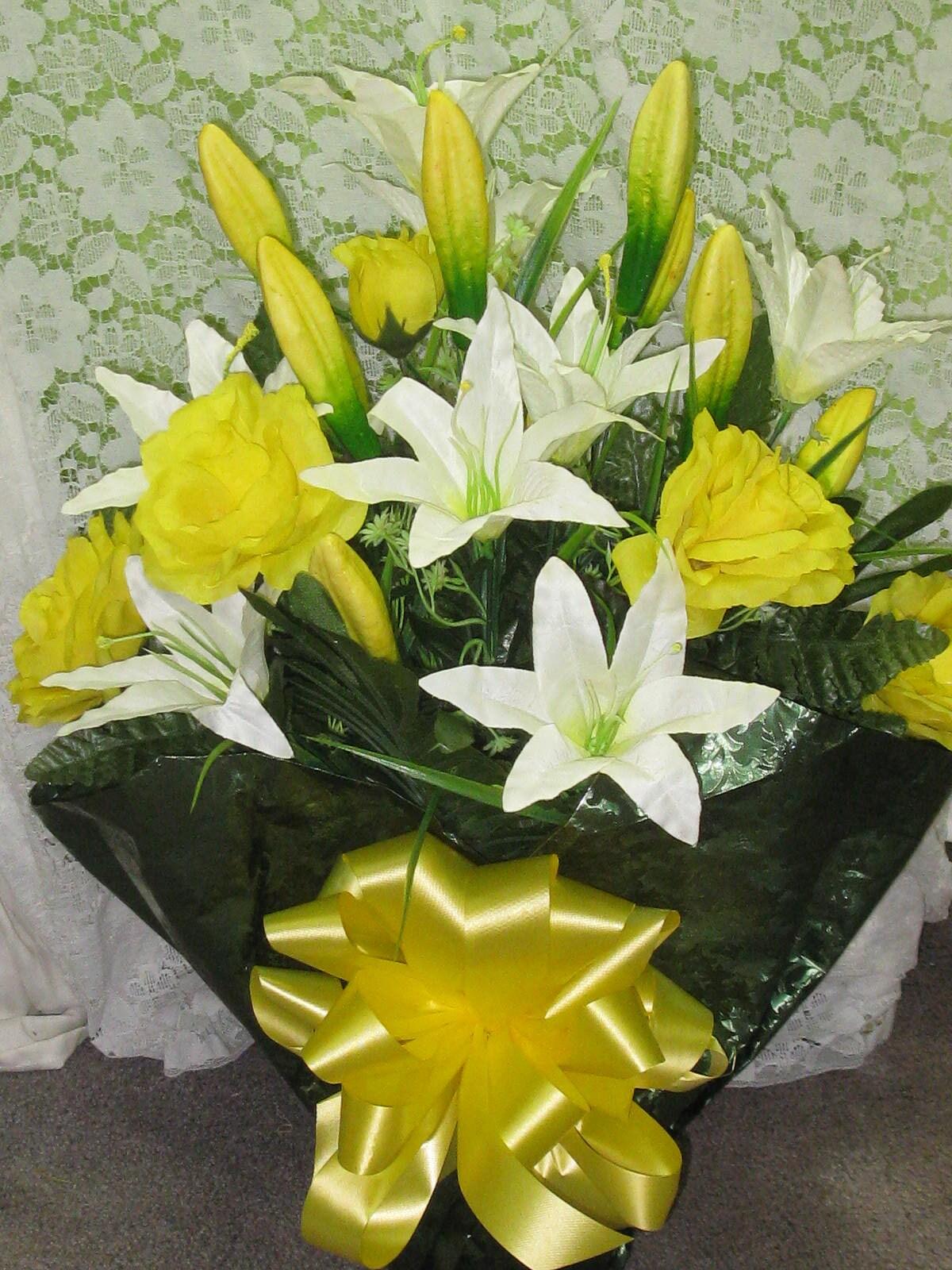 Silk Blumen-Friedhof Abmachung Grab Seidenblume Topf-Memorial | Etsy