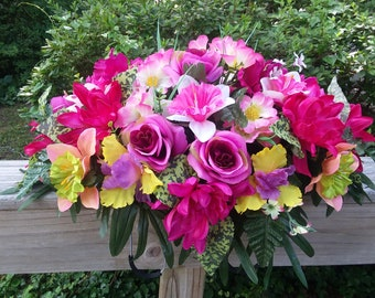 Silk Monument Spray-Memorial Flowers-Silk Cemetery Saddle-Cemetery Flowers-Headstone Saddle-Artificial Grave Decoration-Tombstone Topper