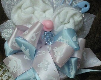 Baby Sock Corsage - Baby Shower Corsage - Baby Sock Roses - Silk Flowers - Baby Novelty Items - Keepsake Corsage - Baby Shower Favor