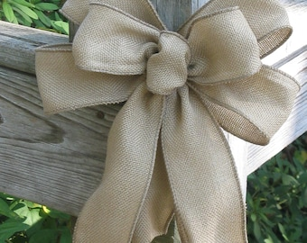 Burlap Bow- Wreath Accent- Wedding Decor- Rustic Ribbon Home Decor- Country Burlap- Year Round Door Decor- Thanksgiving and Christmas Bow